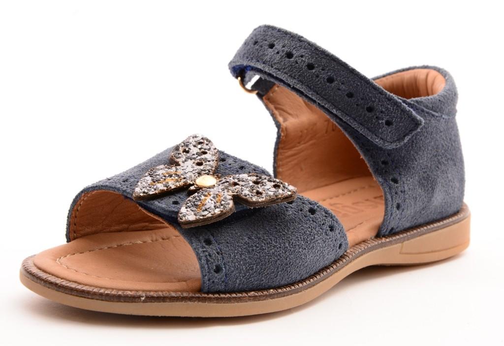 Bisgaard 70258 Mädchen Leder Sandale mit Schmetterling blau