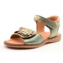 Bisgaard 70224 Mädchen Leder Sandale mit Blumen grün