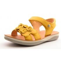 Naturino 5740 Mädchen Leder Klett-Sandale gelb mit Blüten