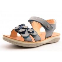 Naturino 5740 Mädchen Leder Klett-Sandale blau mit Blüten