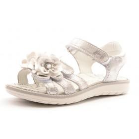 Primigi PAL 7602 Mädchen Sandale silber mit Blüten